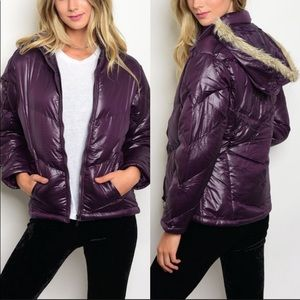Jackets & Blazers - 🛍SALE ✅PLUM COLOR FALL JACKET W/FAUX FUR TRIM